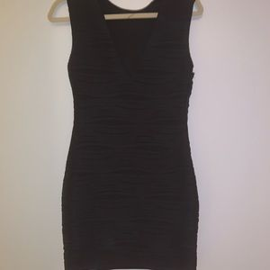 Millau LF ribbed black dress deep V neck